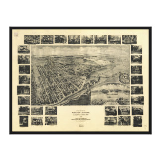 Bird's Eye View Mountain Lake Park, Maryland 1906 Canvas Print