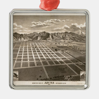 Bird's Eye View of Azusa, California (1887) Metal Ornament
