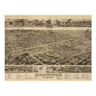 Bird's Eye View of Birmingham Alabama in 1885 Postcard