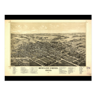 Bird's Eye View of Bowling Green Ohio (1888) Postcard