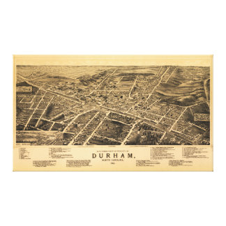 Bird's-eye view of Durham, North Carolina (1891) Canvas Print