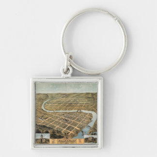 Bird's eye view of Frankfort, Kentucky (1871) Silver-Colored Square Keychain