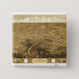 Bird's Eye View of Independence, Missouri (1868) 2 Inch Square Button