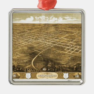 Bird's Eye View of Independence, Missouri (1868) Metal Ornament