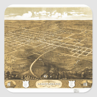 Bird's Eye View of Independence, Missouri (1868) Square Sticker