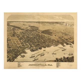Birds eye view of Jacksonville Florida (1876) Letterhead Template