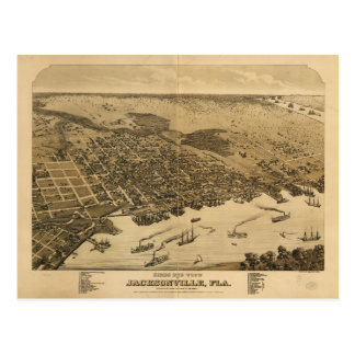 Birds eye view of Jacksonville Florida (1876) Postcard