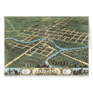 Bird's eye view of Jefferson Wisconsin (1870) Card