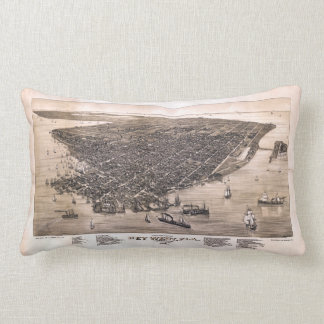Bird's Eye View of Key West, Florida (1884) Lumbar Pillow