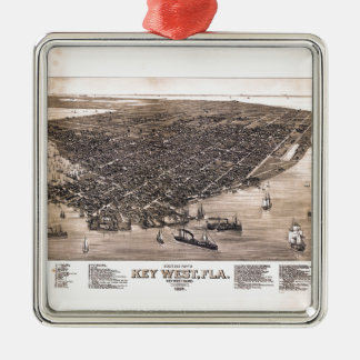 Bird's Eye View of Key West, Florida (1884) Metal Ornament