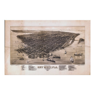 Bird's Eye View of Key West, Florida (1884) Poster