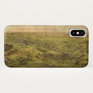 Bird's Eye View of Lansing, Michigan (1866) iPhone X Case