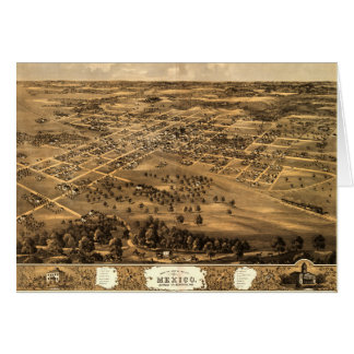 Bird's eye view of Mexico, Missouri (1869) Card