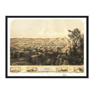 Bird's Eye View of Michigan City, Indiana (1869) Canvas Print