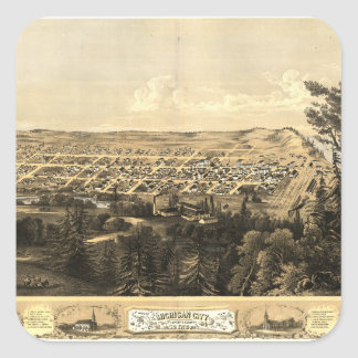 Bird's Eye View of Michigan City, Indiana (1869) Square Sticker