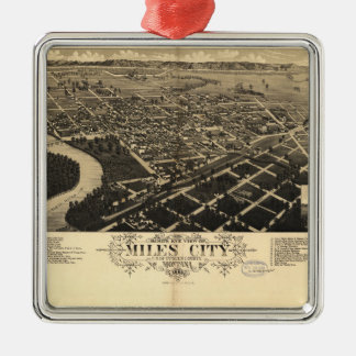 Bird's Eye View of Miles City, Montana (1883) Silver-Colored Square Ornament