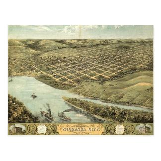 Bird's Eye View of Nebraska City, Nebraska (1868) Postcard