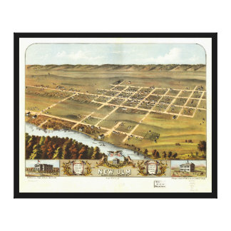 Bird's eye view of New Ulm, Minnesota (1870) Canvas Print
