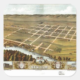 Bird's eye view of New Ulm, Minnesota (1870) Square Sticker