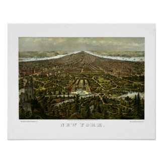 Bird's-eye view of New York with Central Park Poster