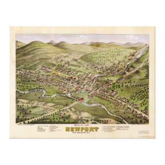 Bird's eye view of Newport, New Hampshire (1877) Canvas Print