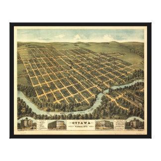 Bird's-eye view of Ottawa Kansas (1872) Gallery Wrap Canvas