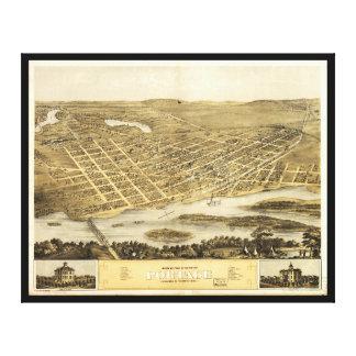 Bird's Eye View of Portage, Wisconsin (1868) Canvas Print