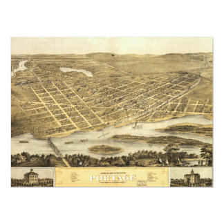 Bird's Eye View of Portage, Wisconsin (1868) Card