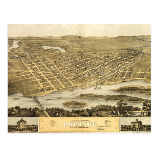 Bird's Eye View of Portage, Wisconsin (1868) Postcard