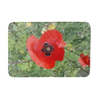 Birds eye view of Red Poppy with black centre. Bath Mat