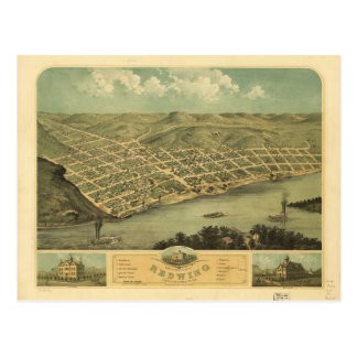Bird's Eye View of Red Wing Minnesota (1868) Postcard