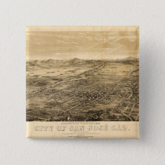 Bird's Eye View of San Jose, California (1869) 2 Inch Square Button