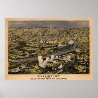 Birds Eye View Seat of War Around Richmond Map Poster