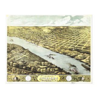 Bird's Eye View the City of Atchison Kansas 1869 Gallery Wrapped Canvas
