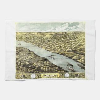 Bird's Eye View the City of Atchison Kansas 1869 Hand Towel