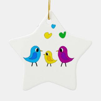 Birds family ceramic star ornament
