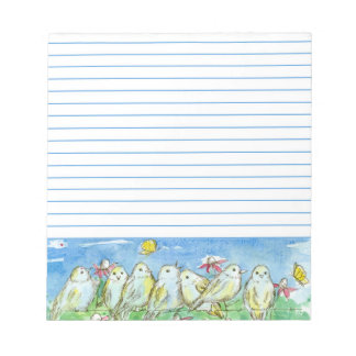 Birds Field Fence Butterfly Flower Meadow Lined Notepad