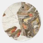 Birds Find Shelter in Lantern Vintage Christmas Round Sticker