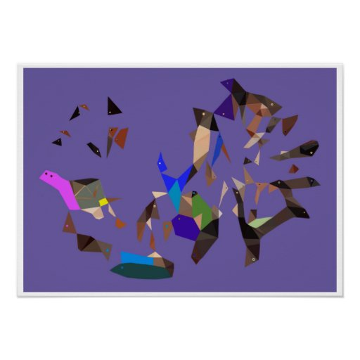 Birds Fish and Turtle Abstract Surrealism Poster