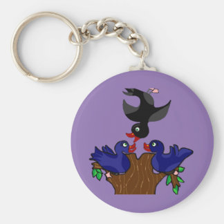 Birds Flipping The Bird Basic Round Button Keychain