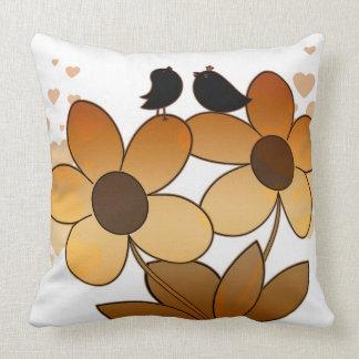Birds Flowers Hearts Kid's Decorative Throw Pillow
