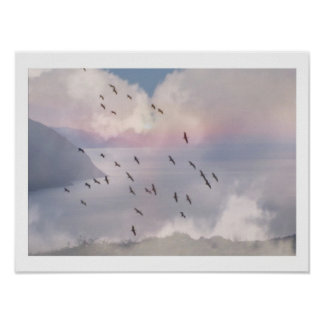 BIRDS FLY IN GROUP POSTER
