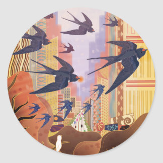 Birds Flying in the City Classic Round Sticker