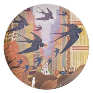 Birds Flying in the City Dinner Plate