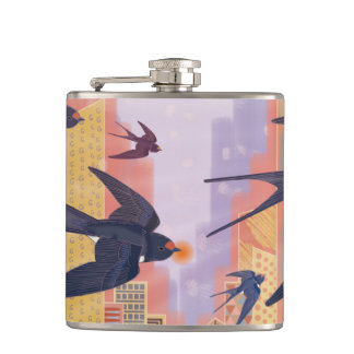 Birds Flying in the City Hip Flask