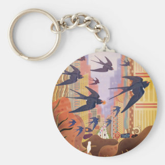 Birds Flying in the City Keychain