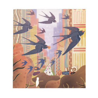 Birds Flying in the City Notepad