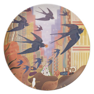 Birds Flying in the City Plate