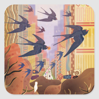 Birds Flying in the City Square Sticker