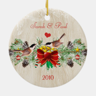 Birds Garland & Pinecones Christmas Photo Ornament